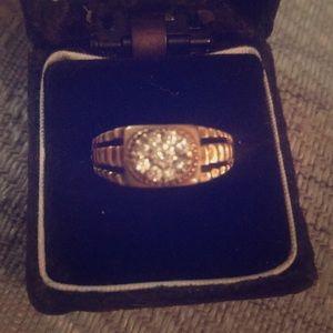 Mens vintage antique brass cluster ring